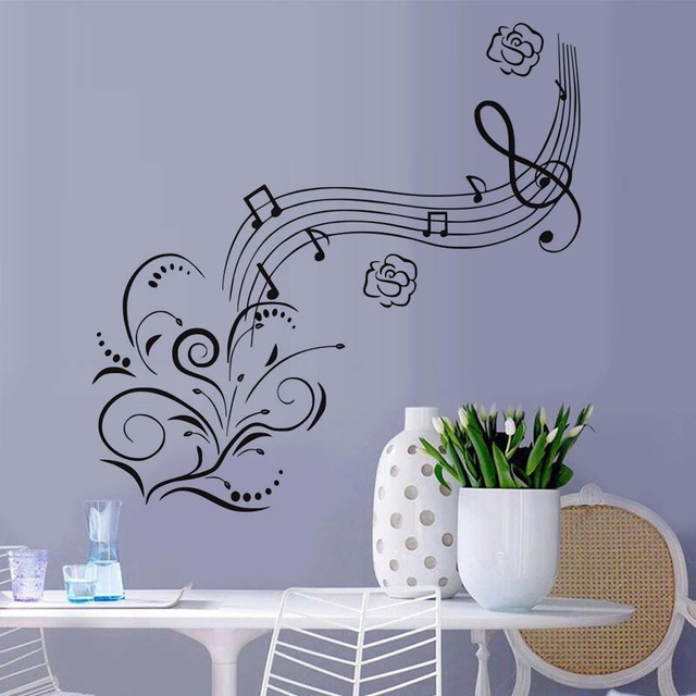 Musical notation flower wall stickers pvc material waterproof diy vinyl music wall poster for kids rooms