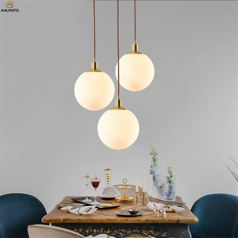 Nordic LED Copper Pendant Lights Modern Hanglamp White Glass Ball Kitchen Fixtures Hanging Pendant Lamp Living Room Luminaire