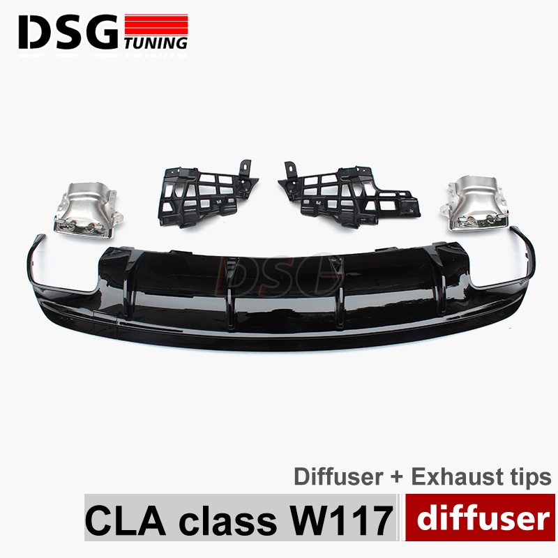 цена Mercedes W117 CLA45 Style Rear Diffuser with 4 - outlet Exhaust Tips Endpipe For Benz CLA Class W117 with CLA45 Package