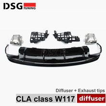 Mercedes W117 CLA45 Style Rear Diffuser with 4 - Outlet Exhaust For Benz CLA Class Package