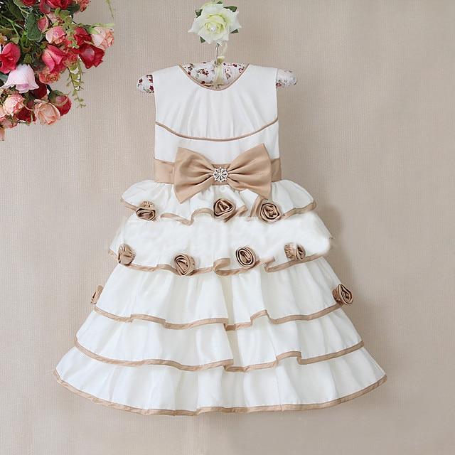 New Design Cute Girls Bow Cake Dress Beautiful Princess Dress