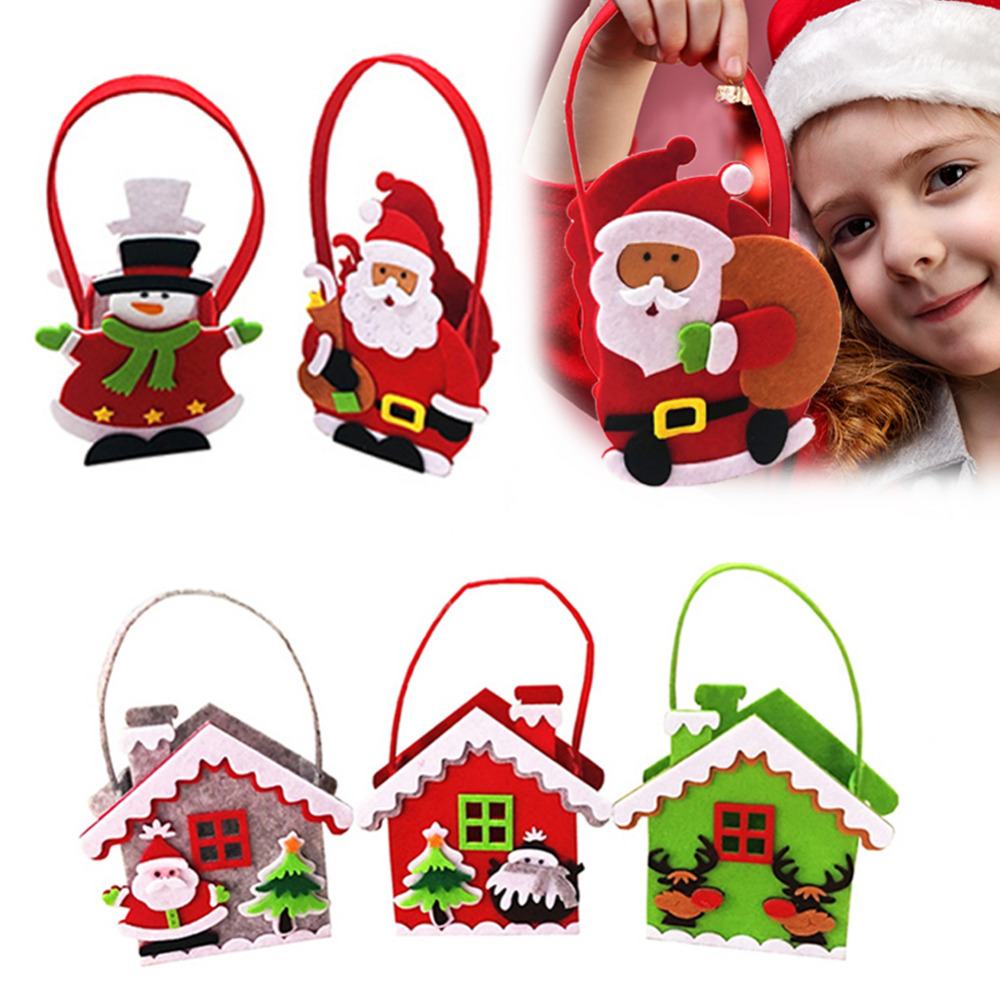 Fast Deliver Christmas Santa Gift Handbag For Children Christmas Portable Gift Baskets With Handle For Wedding Party Home Decor Soft And Antislippery