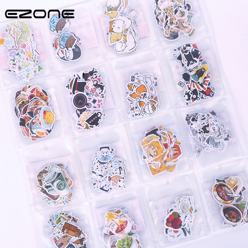 EZONE Cute Cartoon Animals/Foods Sticker Design Of Panda/Bear/Tree/Cat Shape For DIY Laptop Phone Luggage Skateboard Papelaria