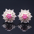 Trendy Flower Champagne Gold Plated Imitation Ruby Emerald Gem CZ Crystal Earrings E07-2