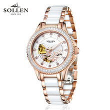 dropshipping Top Brand Women Watch Ceramic Ladies Clock Automatic Mechanical Watches Hollow Waterproof Rhinestone Wristwatches
