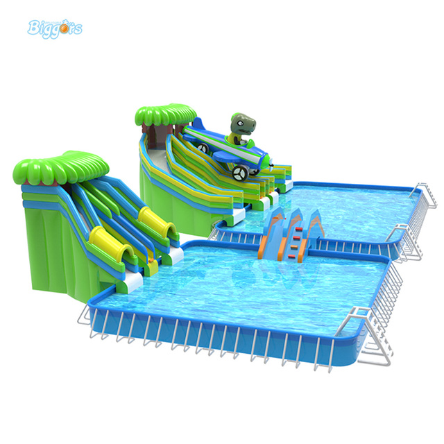Giant Commercial Grade Water Slide Inflatable Park With Blower Swimming Pool For Kids And Adults