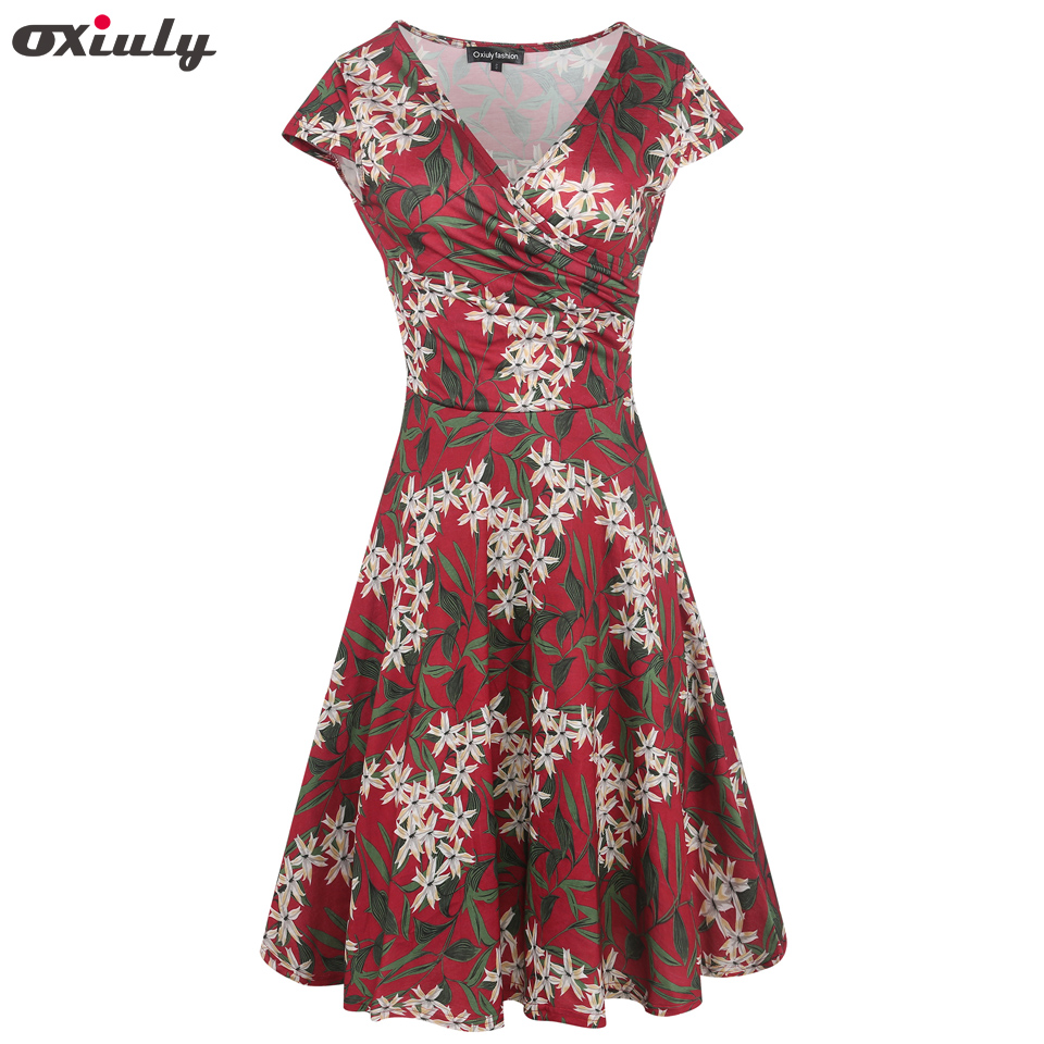Oxiuly Burgendy Leaf Floral Print Ruffle V Neck Dress Short Sleeve Knee  Length Ladies Casual A Line Dresses Vestidos-in Dresses from Women s  Clothing on ... bb06e6e43