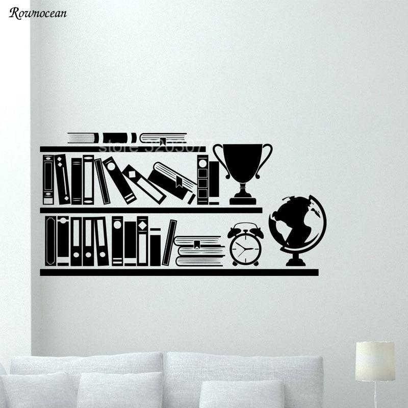Modern Books Bookshelf Wall Decals Library School Classroom Vinyl Sticker Art Home Decor Reading Room Bedroom Murals SK03