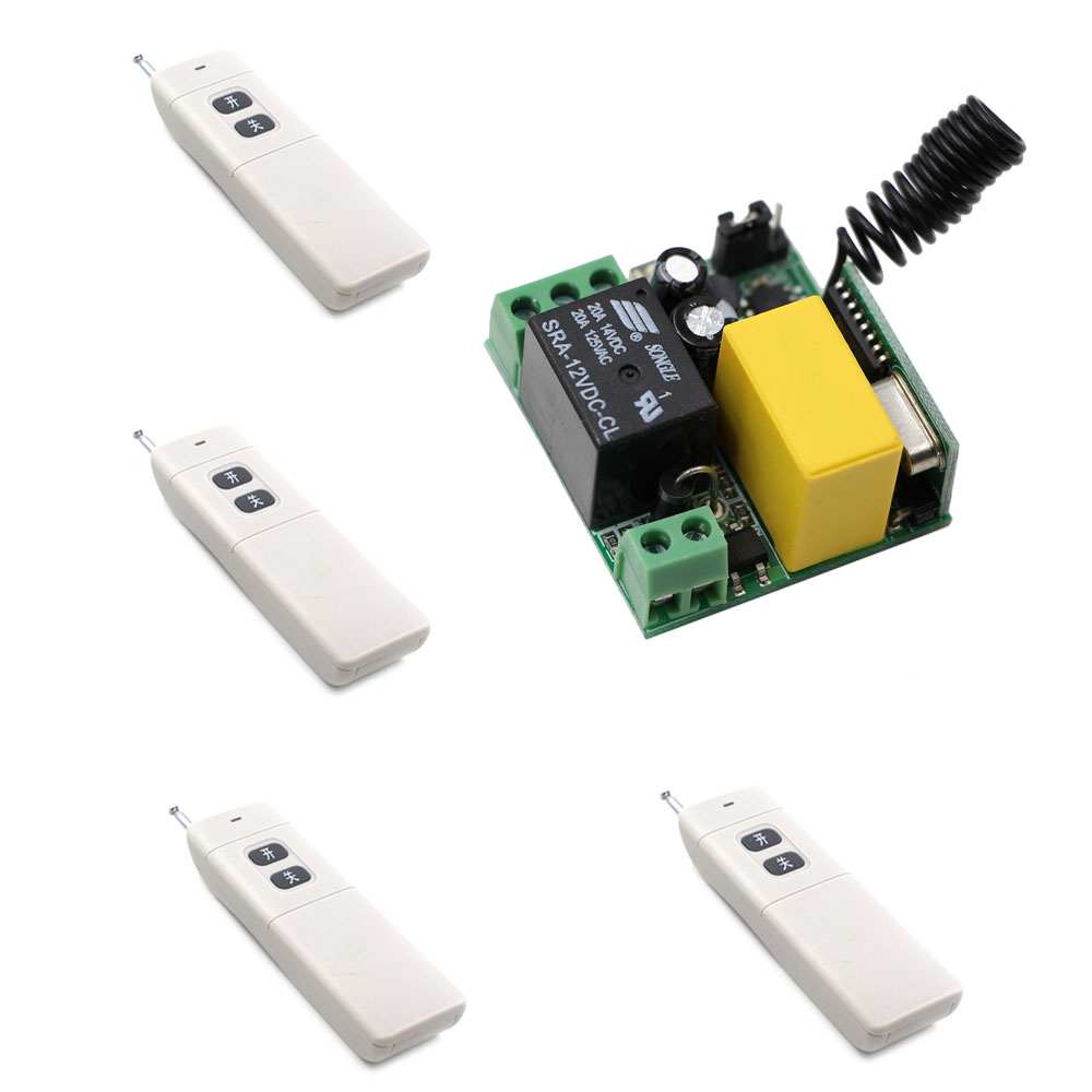 AC 220V 10A 1CH Relay Wireless Remote Control Switch System Long Range Transmitter + Mini Size Receiver 315Mhz/433Mhz ac 110v 220v wireless remote control switch 1ch 1 ch 10a relay receiver remote controller system 315mhz 433mhz