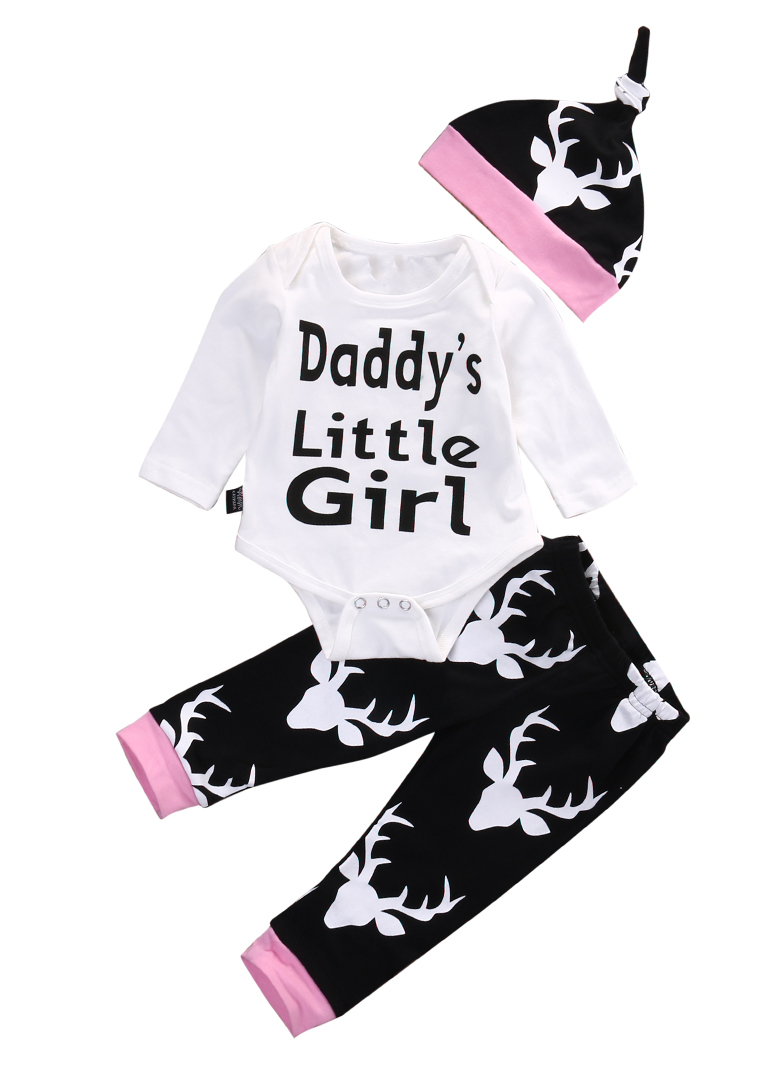 Baby Christmas Clothe Newborn Kids Infant Baby Girl Clothes Daddy Little Girl Print Romper Tops +Deer Long Pants Hat Outfits Set