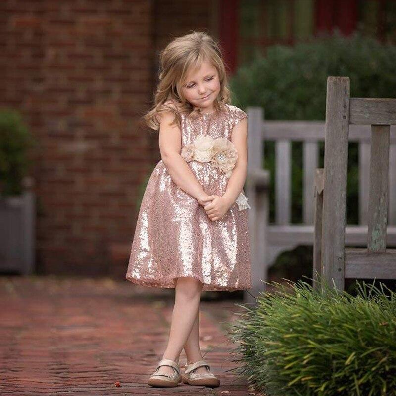 Rose Gold 2019 Flower Girl Dresses For Weddings A-line Cap Sleeves Sequins Baby Long First Communion Dresses For Little Girls