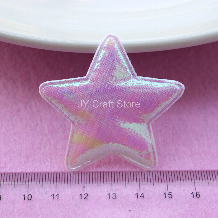 100pcs/lot White Star Felt Appliques W/ Padded Felt Fabric Pentagram Satin Patch for Baby Clothing Headwear Free Shipping