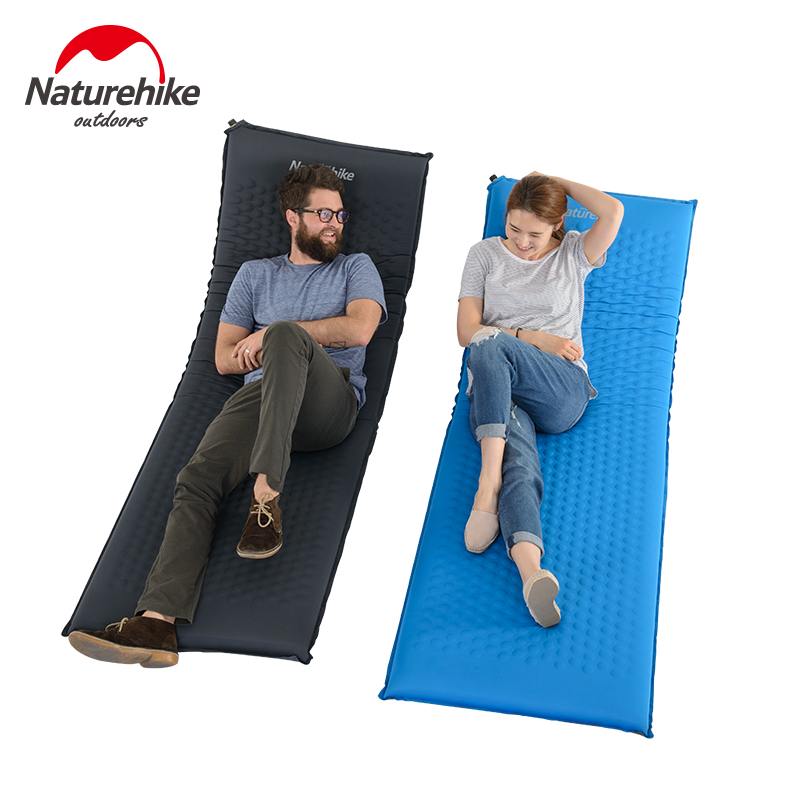 NatureHike Camping Mat 1 Person Automatic Self-Inflating Inflatable Mat Sleeping Pad Foldable Bed Splicing Air mattresses automatic inflatable cushion outdoor travelling sleeping bed pad camping mat sleeping picinic mattress pad self inflating