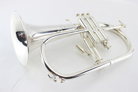 American Flugelhorn Silver plated B Flat Bb Professional Trumpet Top Musical Instruments in Brass Trompete Horn
