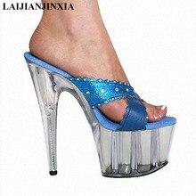 f81bffb98 Laijianjinxia 15 سنتيمتر أحذية 6 بوصة عالية الكعب المصارع مضخات عالية الكعب  الكريستال منصة النعال المصنوعة في الصين مثير النساء .