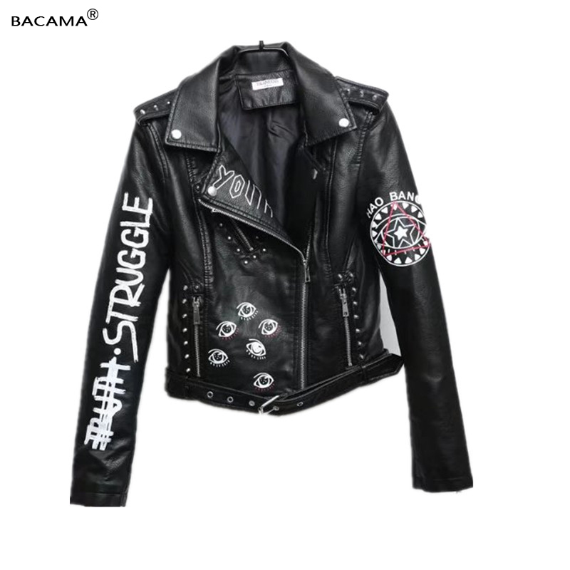 Women   leather   jacket letters female coat hip hop faux pu   leather   clothing ladies motorcycle outerwear 2019 spring autumn y111