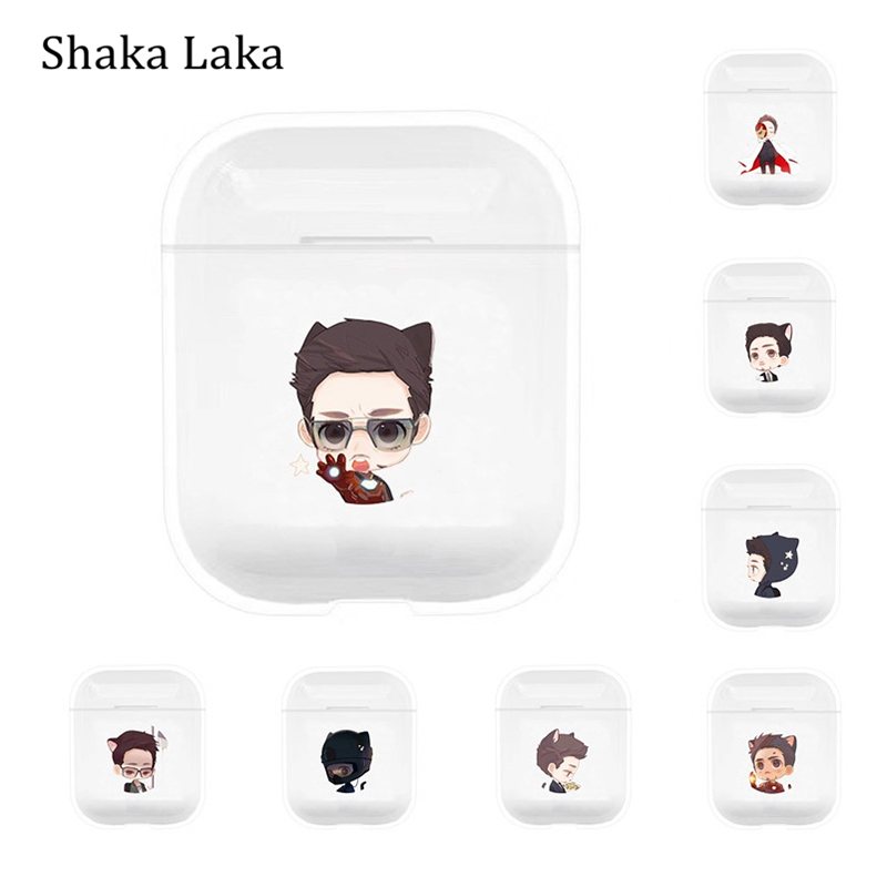 For Apple AirPods Case Cartoon Iron Man Paint Wireless Bluetooth Earphone Protective Cover For Airpods Accessories Charging Box in Earphone Accessories from Consumer Electronics