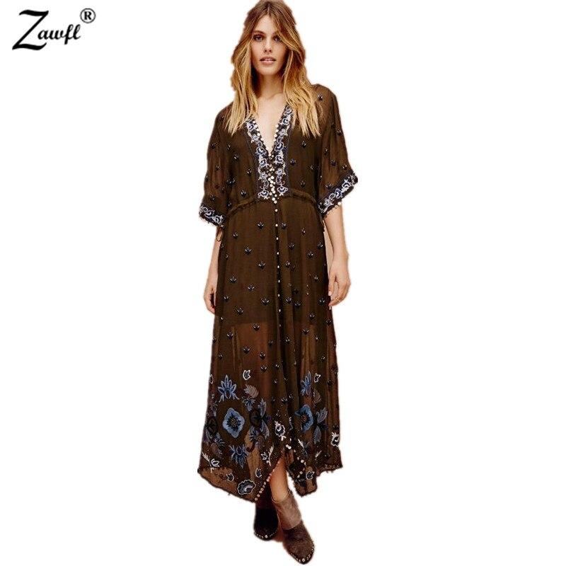 ZAWFL 2019 été femmes surdimensionné ethnique broderie lâche bohème Robe cape manches Hippie Boho personnes Robe longue Robe