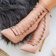 Eilyken High Quality Gladiator Women Pump Genova Stiletto Sandal Boot Pointed Toe Strappy Lace Up Pumps Shoes Woman Sandals 12CM
