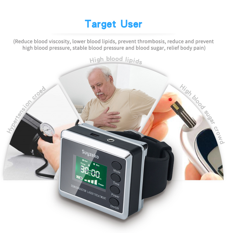 SSCH/ Suyzeko Brand 2018 new model 650nm red laser and blue led Invention Blood Pressure Lower Laser Therapy Watch