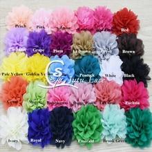 100 шт./лот, 3,75 шифоновые цветы с фестонами, потертые шифоновые цветы для повязки на голову, модные аксессуары apperal accessories