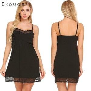 Image 4 - Ekouaer mujeres pijama con tirantes de encaje Camisón con cuello de V Trim camisón Chemise Slip ropa interior vestido de verano Sexy camisón para mujer