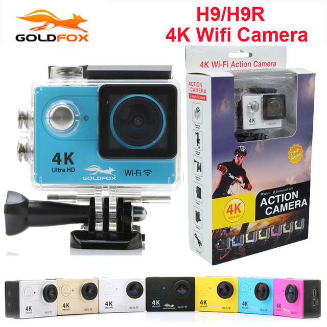 """GOLDFOX Ultra HD 4K Action camera H9/H9R WiFi 2.0"""" 170D underwater waterproof Go Extreme pro Helmet Car camera DVR Sport camers"""