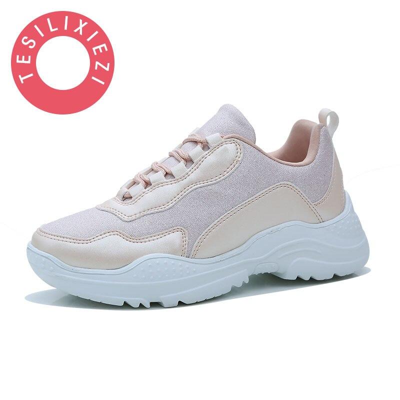 b2c1bf77a61 Comprar Tamanho grande Novo Sapatos Casuais Mulheres Plataforma Sneaker Tenis  Feminino Lady Branco Formadores Zapatillas Mujer Chaussure Femme 2019 ...