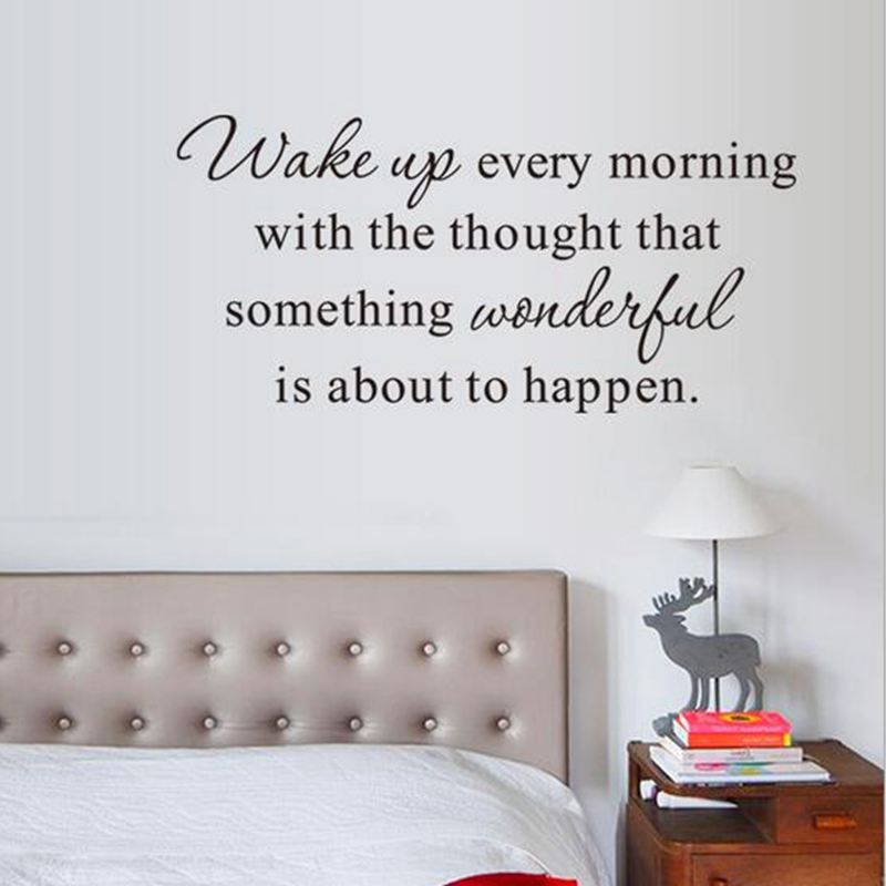 US $4.94 10% OFF|Free shipping wall stickers children\'s bedroom decor Wake  up every morning Inspirational Quote Vinyl Bedroom wall decals,f2014-in ...