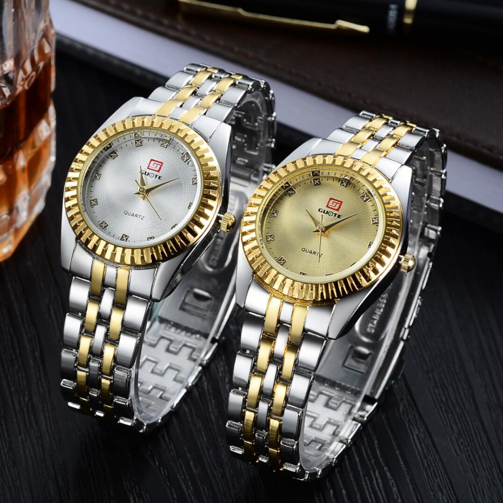 2019 Ny GUOTE Luxury Brand Guld och Silver Elegant Casual Quartz Watch Kvinnor Stainless Steel Klänning Klockor Relogio Feminino Hot