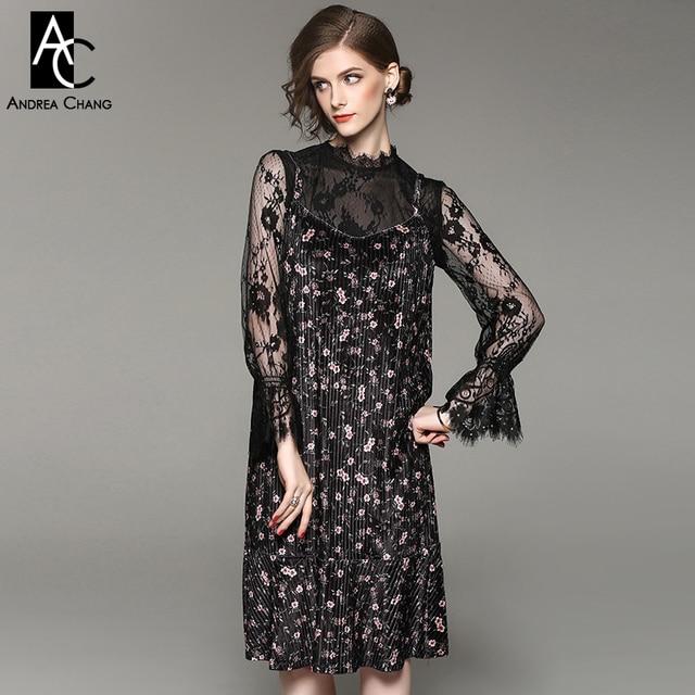 Robe velours et dentelle femme