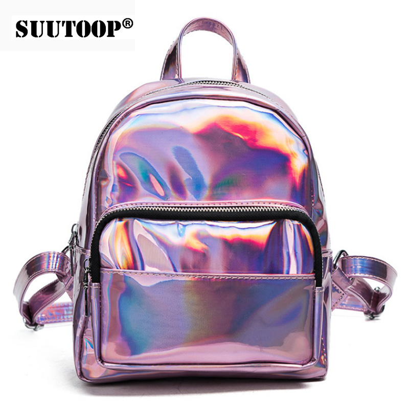 2019 New Women Hologram Backpack Laser Daypacks Girl School Bag Female Silver Pu Leather Holographic Bags Big Medium Small Size
