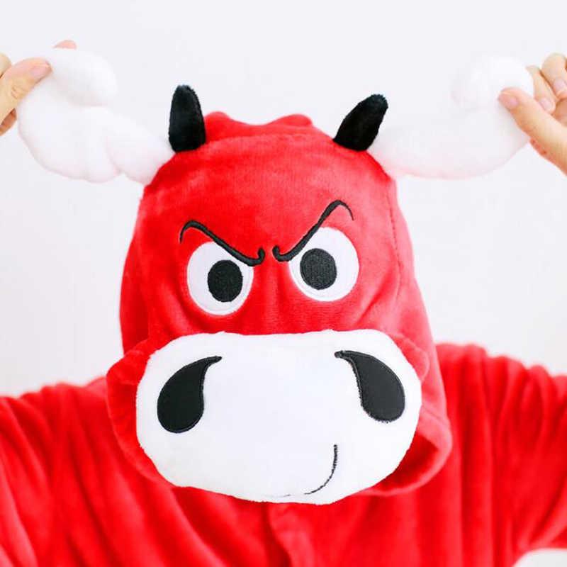 Dewasa Anime Kigurumi Onesies Kemarahan Banteng Merah untuk Wanita Hewan Serigala Stitch Satu Potong Baju Tidur Rumah Kain Gadis