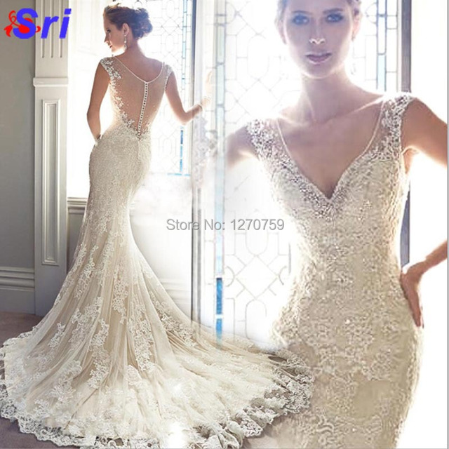 Fashion Dress Warmly Welcome White Ivory Champagne Color Lace Backless Wedding Elegance