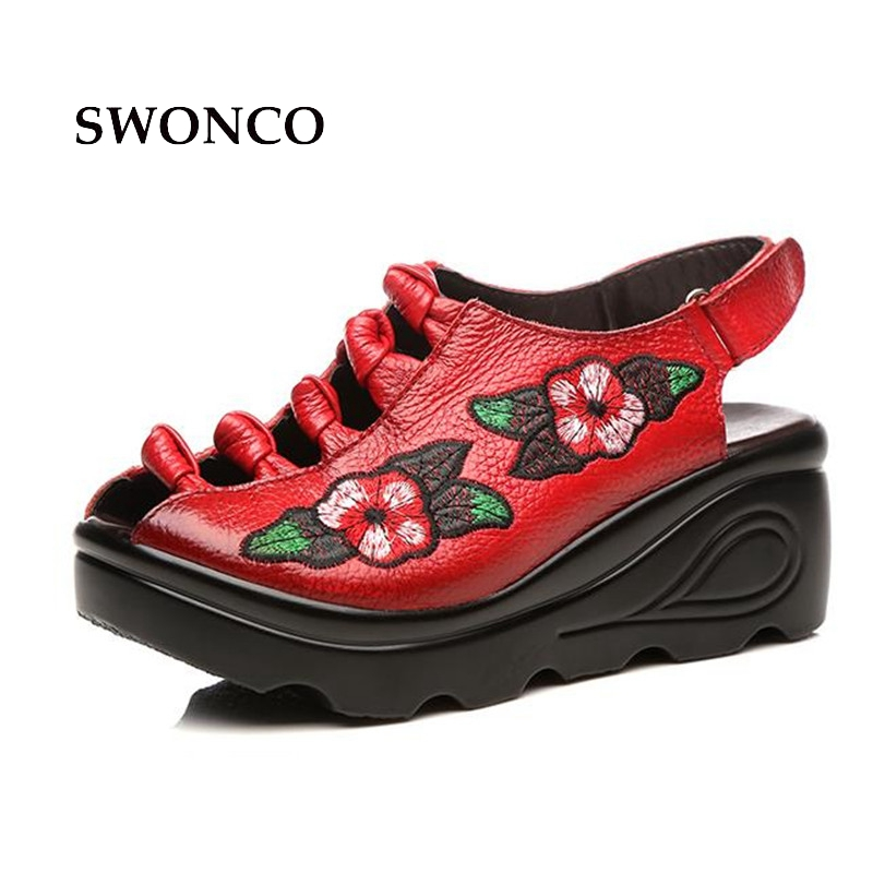 SWONCO Womens Sandals 7cm Thick Sole Embroider Ladies Shoes Genuine Leather Sandals Women Handmade Black Woman ShoesSWONCO Womens Sandals 7cm Thick Sole Embroider Ladies Shoes Genuine Leather Sandals Women Handmade Black Woman Shoes