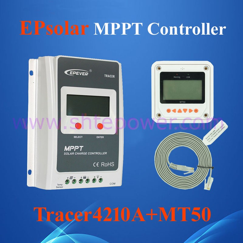 2016 hot selling mppt solar charge controller 12v 24v 40amp with MT-50 meter Tracer4210A EPEVER