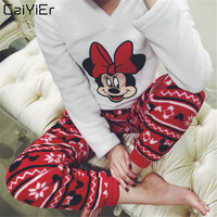 Caiyier 2018 Fashion Woman Winter Thick Warm Flannel Pajama Sets Cartoon Mouse Pyjas Sleepwear Snow Clothes Nightgown Female