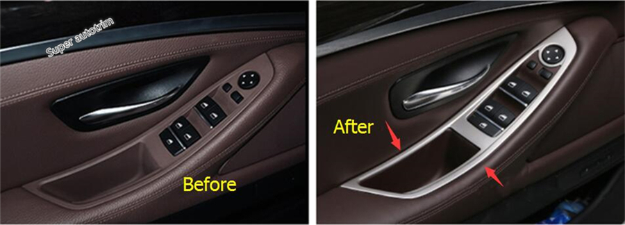 Lapetus Accessories For BMW 5 Series 520i 525i 530i F10 F18 2011 2016 Door Armrest Window Lift Switch Button Cover Trim