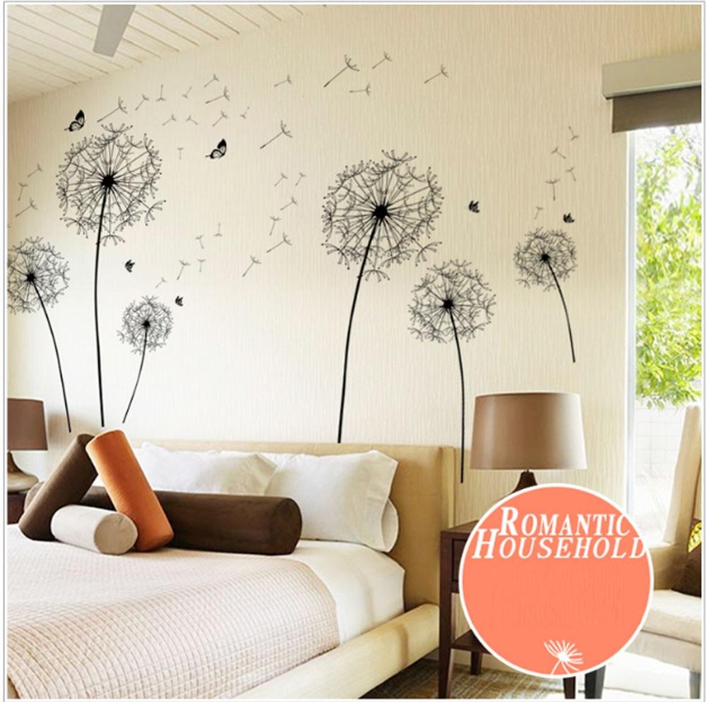 Fashion Heaven Diy Home Decor New Design Large Black Dandelion Wall Sticker Art Decals PVC 17a11