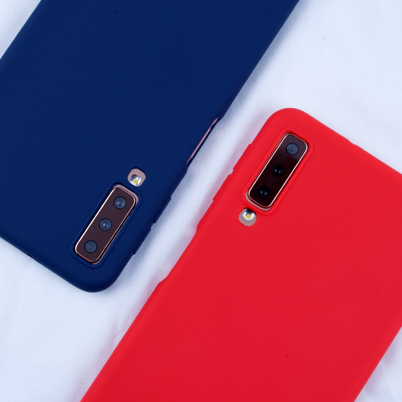 Matte Candy Color Case For Samsung Galaxy A7 2018 S10 Plus Lite Cases Colorful Silicone Cover For Samsung A3 A5 2017 S8 S9 Plus in Fitted Cases from Cellphones Telecommunications