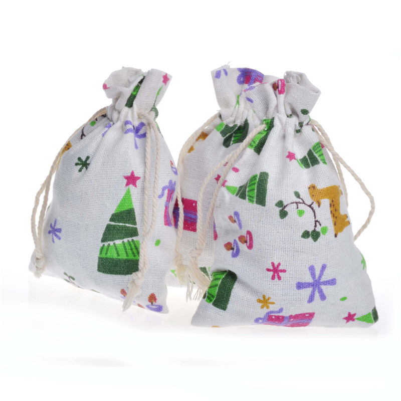 Christmas pattern cotton bags sack wedding favor for Drawstring jewelry bag pattern