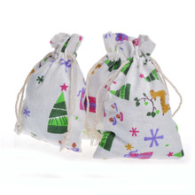 Christmas Pattern Cotton Bags Sack Wedding Favor Drawstring Gift Incense Storage Linen Bag Keychain Coins Jewelry Packaging Bags 10x14cm linen cotton drawstring bag jewelry bag decorative bags christmas wedding gift pouch product packaging bags