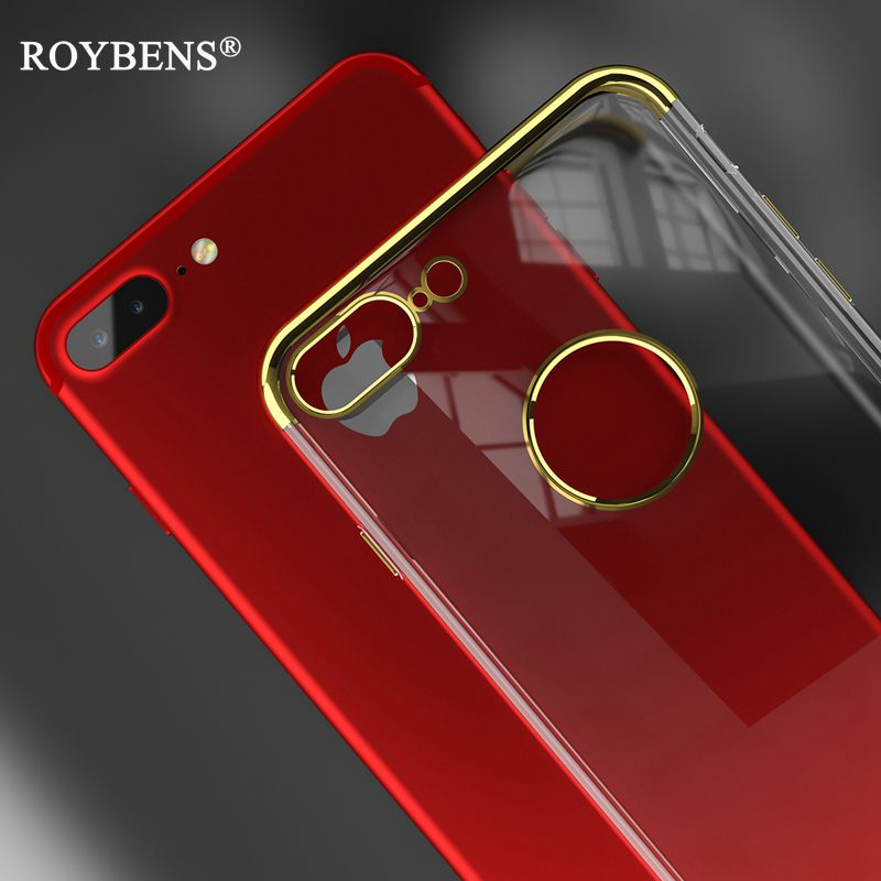 Iphone 6 Jet Black >> Roybens Fashion Luxury Gold Plating Transparent Clear Case For iPhone 6 6S iPhone 7 Plus Soft ...