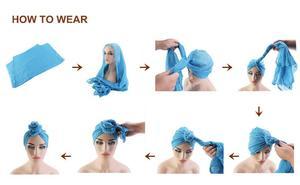 Image 3 - Gorro para quimio con nudo para mujer, gorro para la caída del pelo, Hijab musulmán, sombreros de turbante largo, pañuelo para la cabeza, bufanda árabe islámica, nudo de Color sólido 180*70cm
