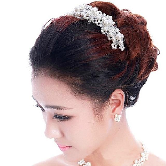 Fashion Silver Red Headband Bridal Hairband Handmade Pearl Rhinestone  Wedding Hair Accessories Women Hair Jewelry Headdress 4d943bac8f0