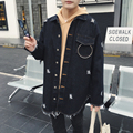 2017 New High Street Mens Denim Jacket Fashion Hiphop Long Style Hole Washed Denim Coat Male Loose Jean Jacket