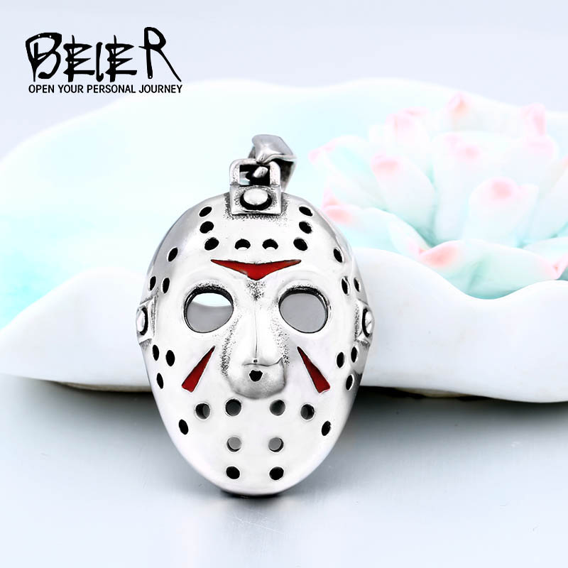 BEIER Stainless Steel Biker Jason Voorhees Hockey Halloween Mask pendant necklace with red colour Antique Cool Jewelry BP8-362 halloween natural rubber bald ghost mask red white