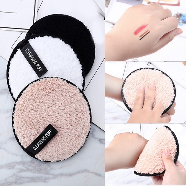 Make up remover promotes healthy skin  Microfiber Cloth Pads Remover Towel Face Cleansing Makeup Lazy cleansing powder puff X245 1