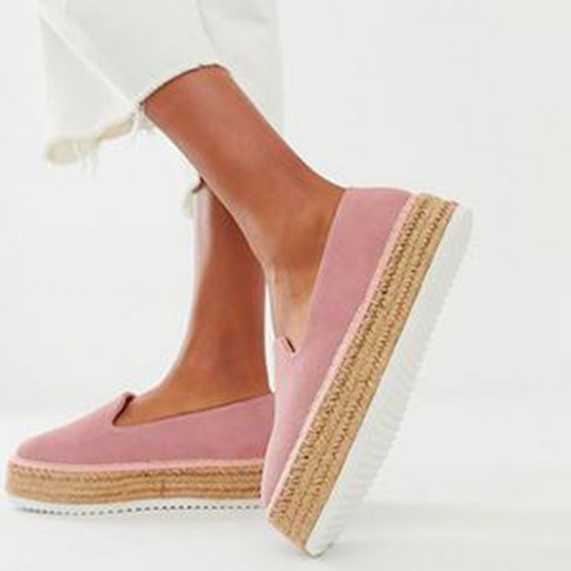 ADISPUTENT Women Faux Suede Espadrilles Shoes  Loafer Casual  Flats 2019 Ballet Flats Ladies  Zapatos Mujer
