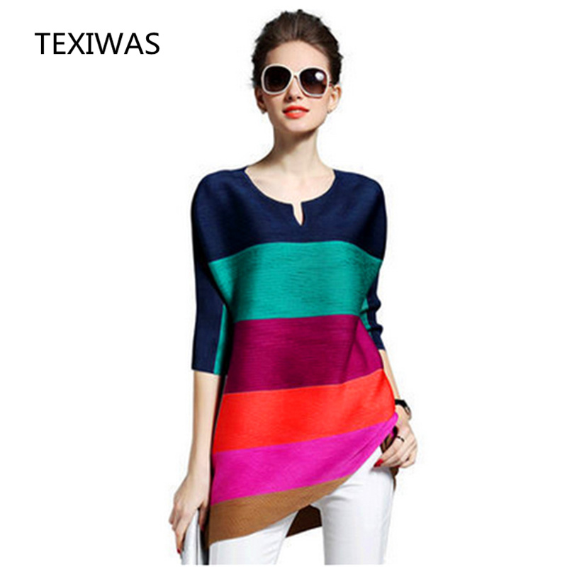TEXIWAS 2018 Spring Summer New O-neck Long-sleeved Pleated Dress Women Fashion Loose Striped Hit Color High-quality Clothing